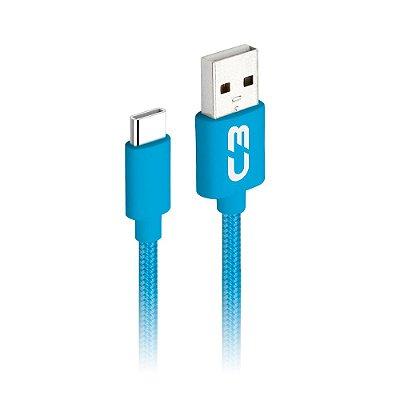 Cabo USB-USB 2.0 Tipo C C3Plus CB-C11BL 1Metro - Azul