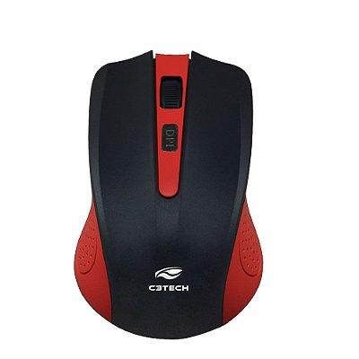 Mouse sem Fio C3Tech M-W20RD 1000Dpi - Vermelho