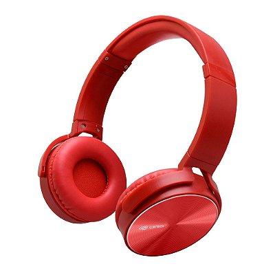 Fone de Ouvido Headphone C3Tech PH-110RD com Microfone Dobrável - Vermelho