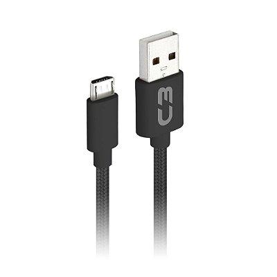 Cabo USB-Micro C3Plus CB-M11BK 1 Metro - Preto