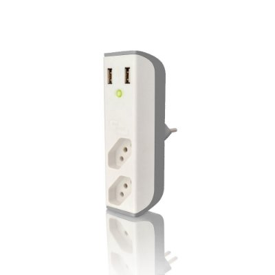 Carregador de Tomada C3Tech FL-USB21GWH Usb 2,1A + Filtro Bem Ligado - Branco