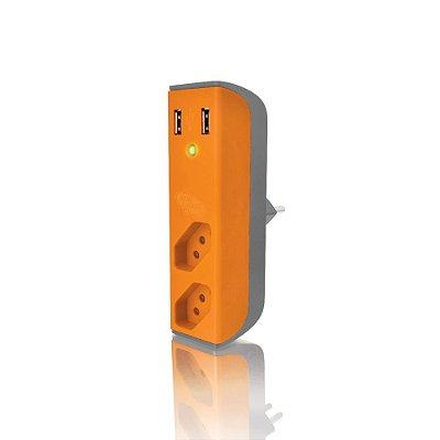 Carregador de Tomada C3Tech FL-USB21GOR Usb 2,1A + Filtro Bem Ligado - Laranja