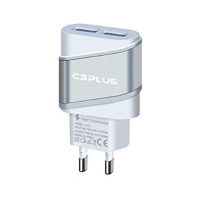 Carregador Universal AC/USB C3Plus UC-20SWH 2 Usb - Branco e Prateada