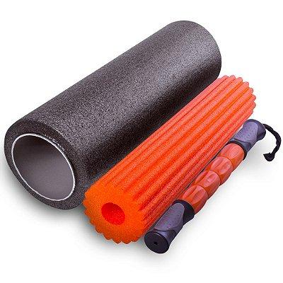 Rolo de Massagem 3 em 1 Acte Sports T115 - Preto e Laranja