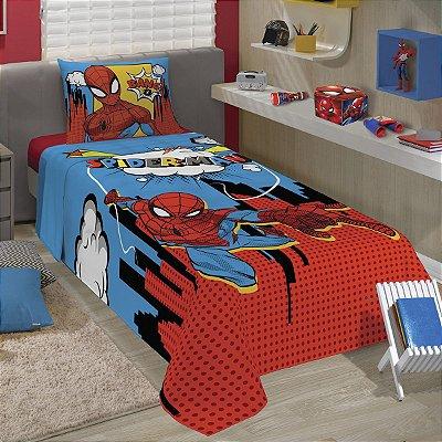 Jogo de Cama Lepper Solteiro Spider Man 2 Peças - Vermelho e Azul
