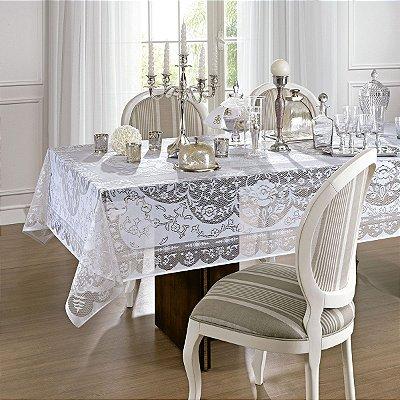 Toalha De Mesa Lepper Em Renda Dinner Retangular 155x300cm - Branco