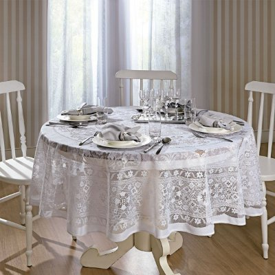 Toalha de Renda Redonda Pérsia 180cm - Branco - Lepper