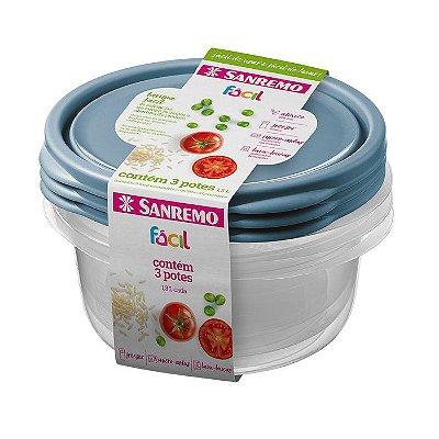 Conjunto de 3 Potes Redondos de Plástico Sanremo Fácil 1300ml - Sortidos