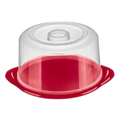 Porta Bolo Redondo de Plástico Sanremo Casar 24x13cm - Transparente e Vermelho