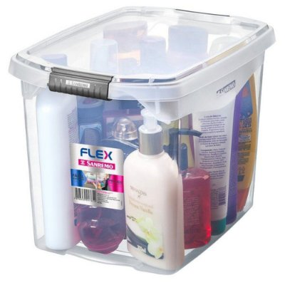 Caixa Organizadora com Tampa de Plástico Sanremo Flex 11L 31,8x22,8x23,1cm - Incolor