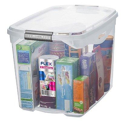 Caixa Organizadora com Tampa de Plástico Sanremo Flex 36l - Incolor