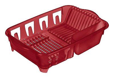 Escorredor de Louça  de Plástico Sanremo Casar 45,8x31,8x10,5cm - Vermelho