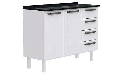 Balcão de Cozinha Colormaq Titanium 2 Portas 4 Gavetas em Aço 105,2x84,0x43,5cm - Branco