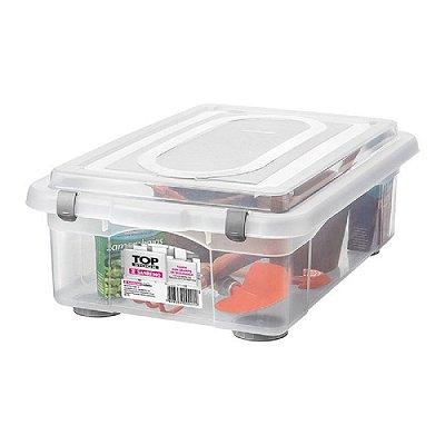 Caixa Organizadora com Tampa de Plástico Sanremo 28,2L 56,4x38,5x20,1cm - Incolor