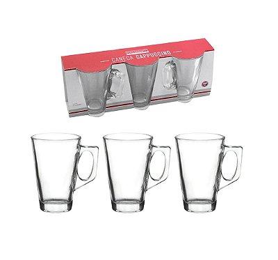 Conjunto de Canecas para Cappuccino com 3 Peças - 250ml - Vidro - Hauskraft