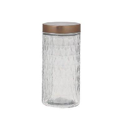 Pote Hermético com Tampa Metalizada 1,8 Litros  - Vidro - Rose Gold - Hauskraft