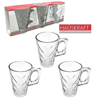 Conjunto de Canecas com 3 Peças - Diamond 230ml - Vidro - Hauskraft
