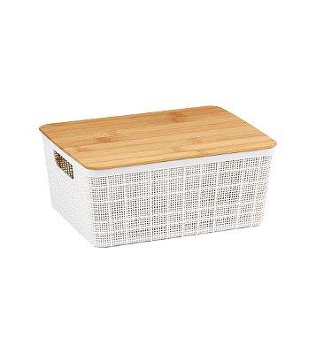Caixa Organizadora Oikos com Tampa de Bambu 4 Litros 10,5x18,5x24cm - Branco