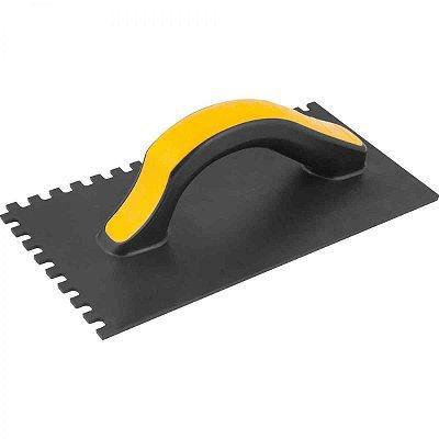 Desempenadeira Plástica Dentada 140mm x 270mm Vonder - Preta com Amarelo