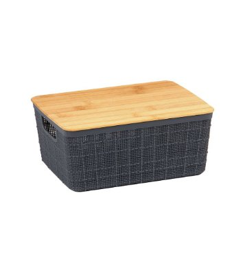 Caixa Organizadora Oikos com Tampa de Bambu 4 Litros - Cinza