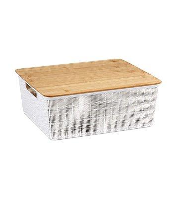 Caixa Organizadora Oikos com Tampa de Bambu 12 Litros 13,8x29,5x35,3cm - Branco