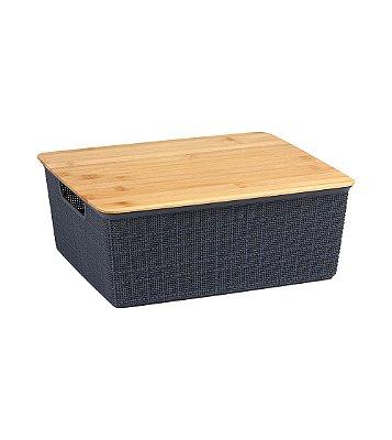 Caixa Organizadora Oikos com Tampa de Bambu 12 Litros 13,8x29,5x35,3cm - Cinza