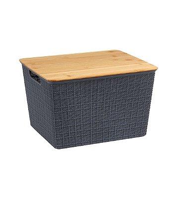 Caixa Organizadora Oikos com Tampa de Bambu 18 Litros 22,4x29,5x35,3cm - Cinza