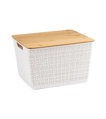 Caixa Organizadora Oikos com Tampa de Bambu 18 Litros 22,4x29,5x35,3cm - Branco