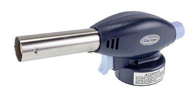 Maçarico Portátil com Controle Manual Western - Azul Marinho e Prata
