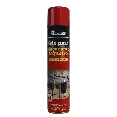 Gás para Maçarico e Isqueiro Western 300ml com Bico Adptador Butano Propano  - Vermelho