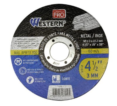 Disco Serra Circular para Metal Inox 115x3x22,2 Western - Preto e azul