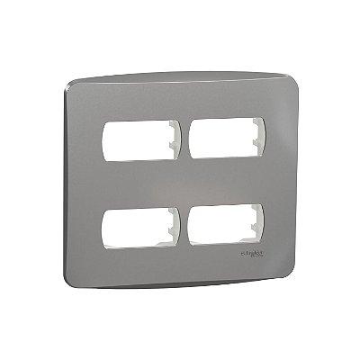 Placa 4X4 4 Postos com Suporte Miluz Alumínio - S3B77442 - Schneider Electric