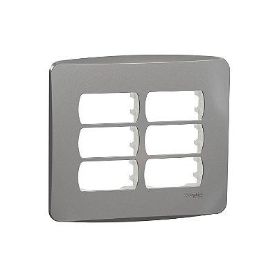 Placa 4X4 6 Postos com Suporte Miluz Aluminio - S3B77462 - Schneider Electric