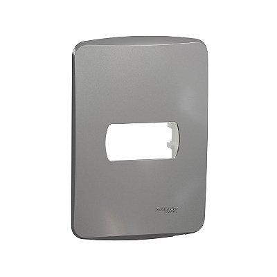 Placa 4X2 1 Posto com Suporte Alumínio Miluz - S3B77112 -Schneider Electric