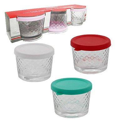 Conjunto de 3 Potes Redondos com Tampa de Plástico - Diamond 220ml - Cores Sortidas - Hauskraft