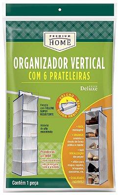 Organizador de Prateleira Vertical para Armário 6 Nichos 15x30x90cm - Branco - Plast Leo