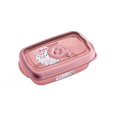 Pote de Plástico Retangular Sanremo 430ml - Rosa