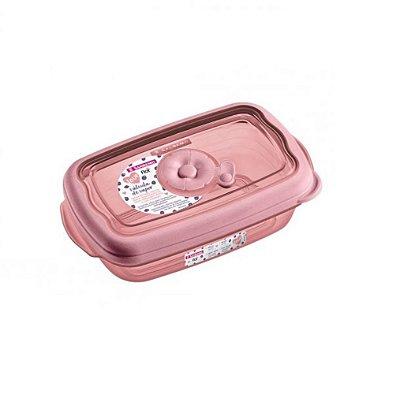 Pote de Plástico Retangular Sanremo 1,26L - Rosa