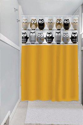 Cortina de Box Vinil Lisa com Visor Retangular Estampada com Ganchos Corujinhas 135x200cm - Bege - Plast Leo