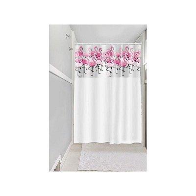 Cortina de Box Vinil Lisa com Visor Retangular Estampada com Ganchos Flamingos - Branco - Plast Leo
