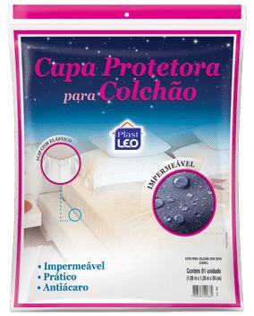 Capa para Colchão Impermeável Casal 1,88x1,38x18cm - Branco - Plast Leo