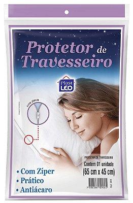Protetor para Travesseiro com Zíper 65x45cm - Branco - Plast Leo