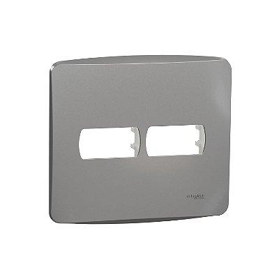 Placa 4X4 2 Postos com Suporte Miluz Alumínio - S3B77422 - Schneider Electric
