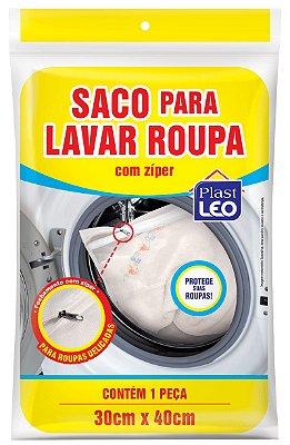 Saco para Lavar Roupa com Zíper Pequeno 30x35cm - Branco - Plast Leo