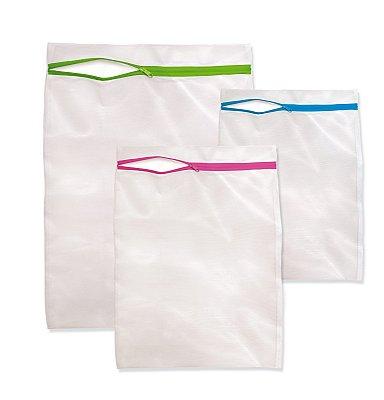Kit de 3 Sacos para Lavar Roupas com Zíper - Branco - Plast Leo