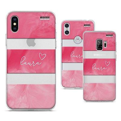 Capinha Personalizada - Nome - Fundo Rosa Love