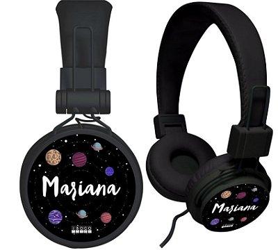 fone de ouvido personalizado - nome fundo espacial