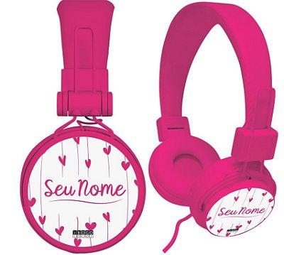 fone de ouvido personalizado - nome corações rosa fundo branco