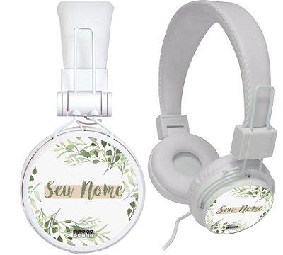 fone de ouvido personalizado - nome fundo branco folhas verdes