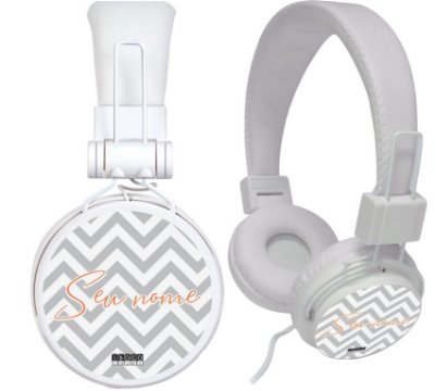 fone de ouvido personalizado - nome fundo chevron